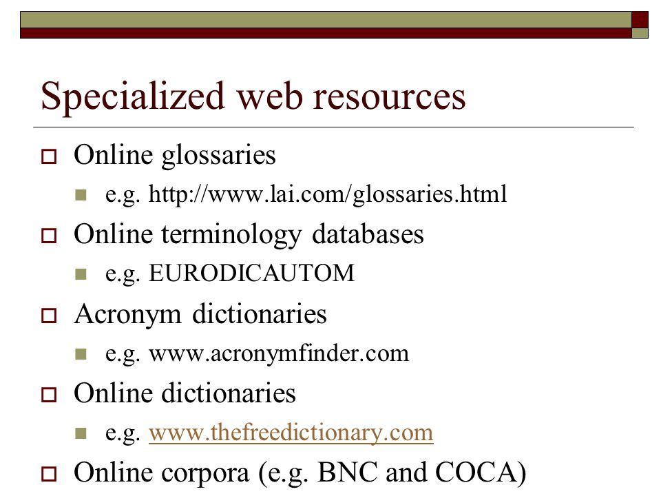 Specialized web resources