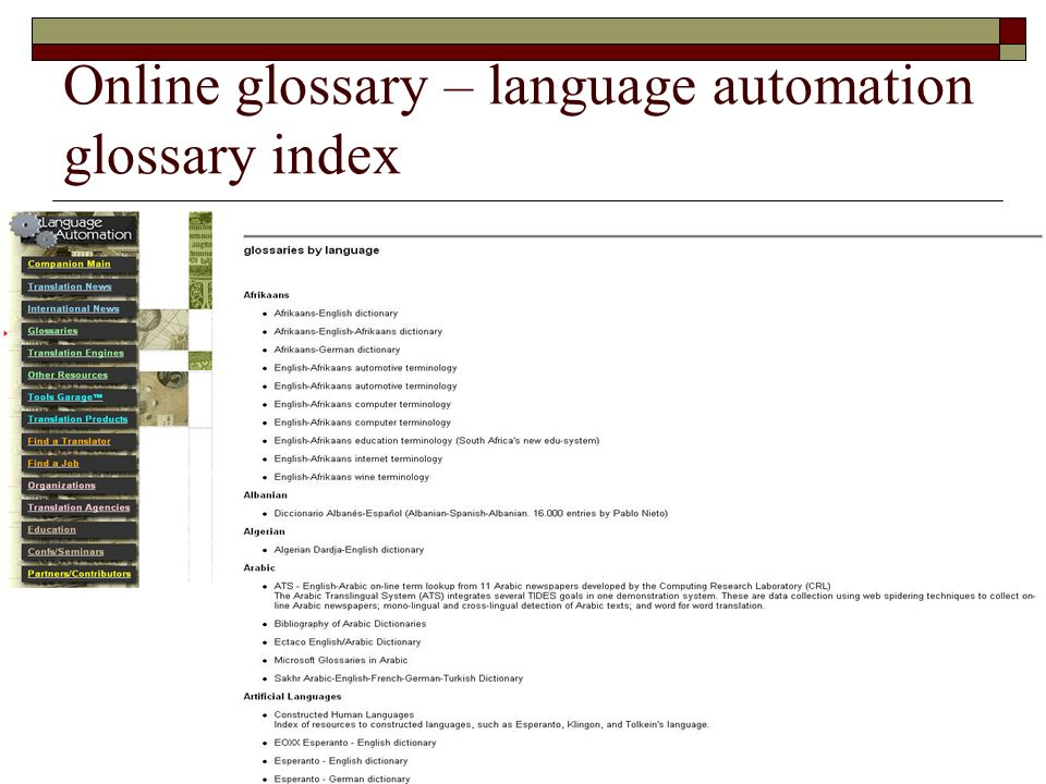 Online glossary – language automation glossary index