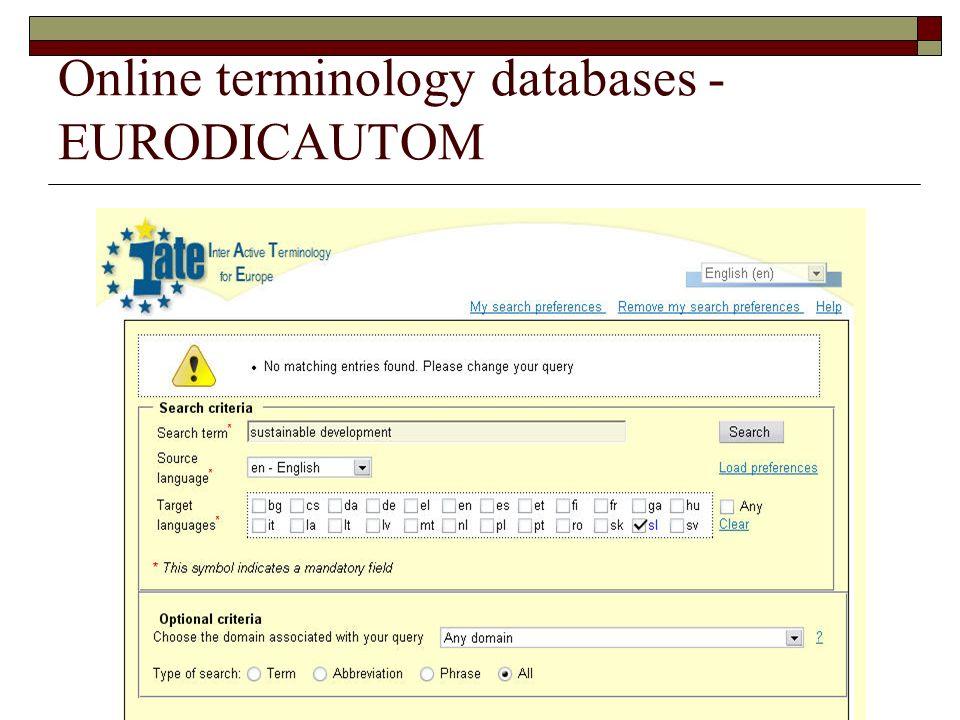 Online terminology databases - EURODICAUTOM
