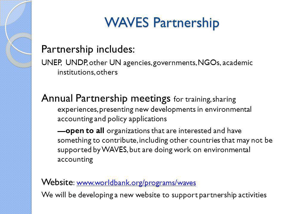 WAVES Partnership Partnership includes: