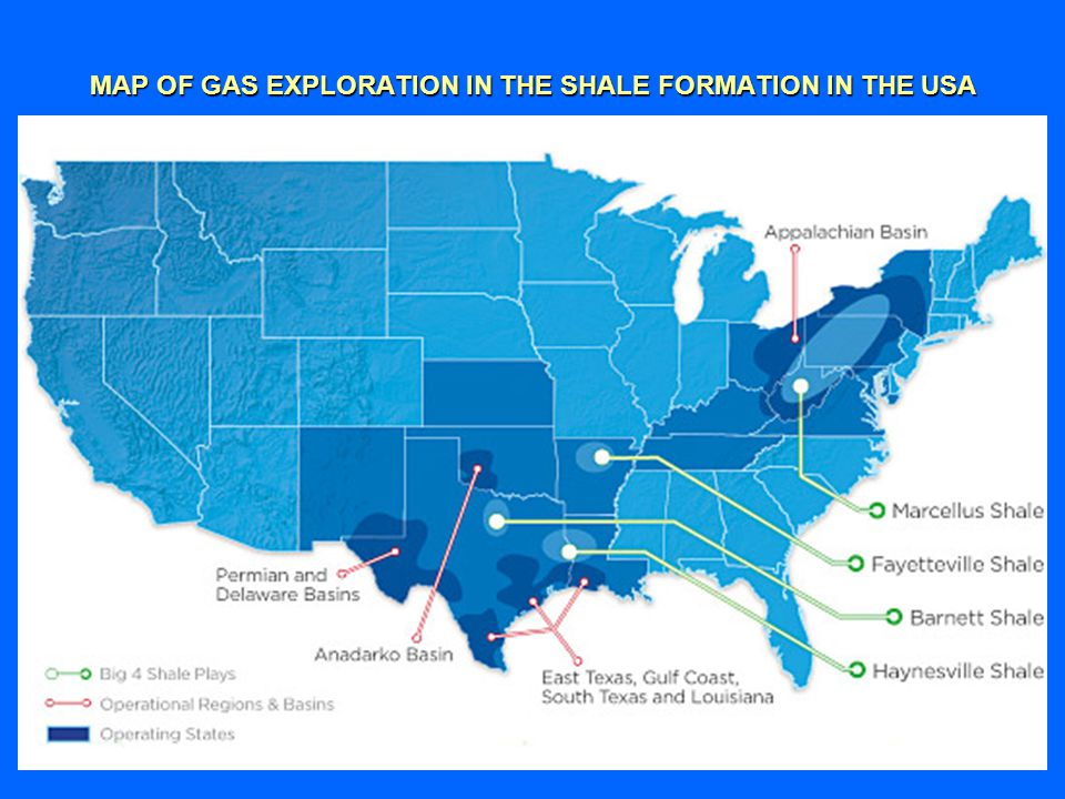 MAP OF GAS EXPLORATION IN THE SHALE FORMATION IN THE USA
