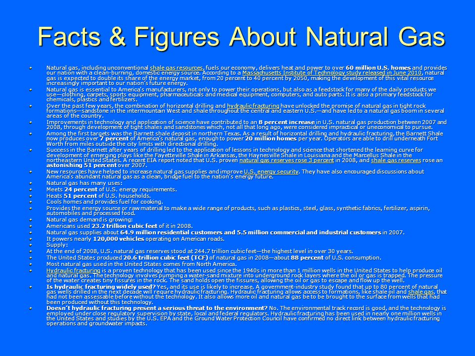 Facts & Figures About Natural Gas