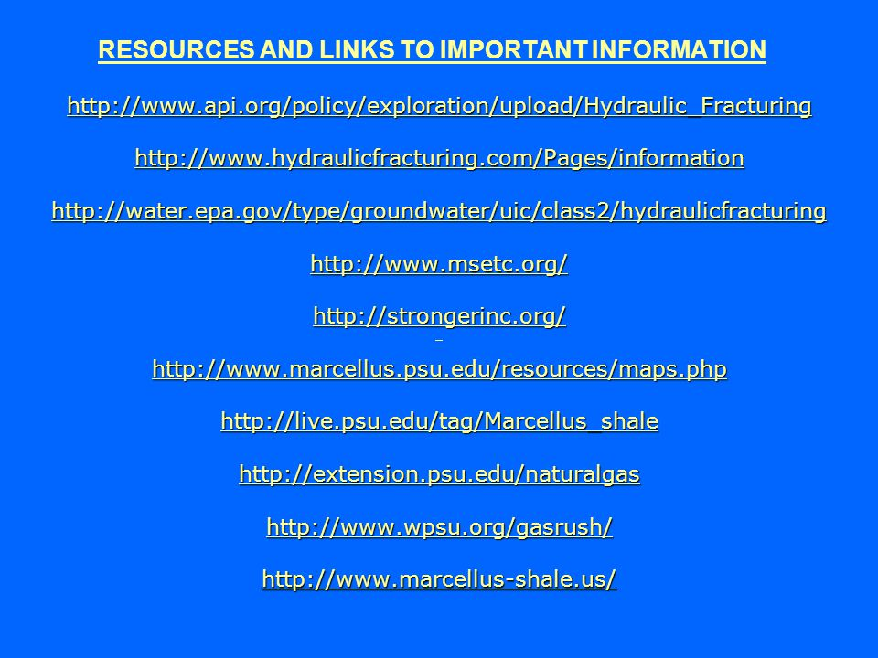 RESOURCES AND LINKS TO IMPORTANT INFORMATION