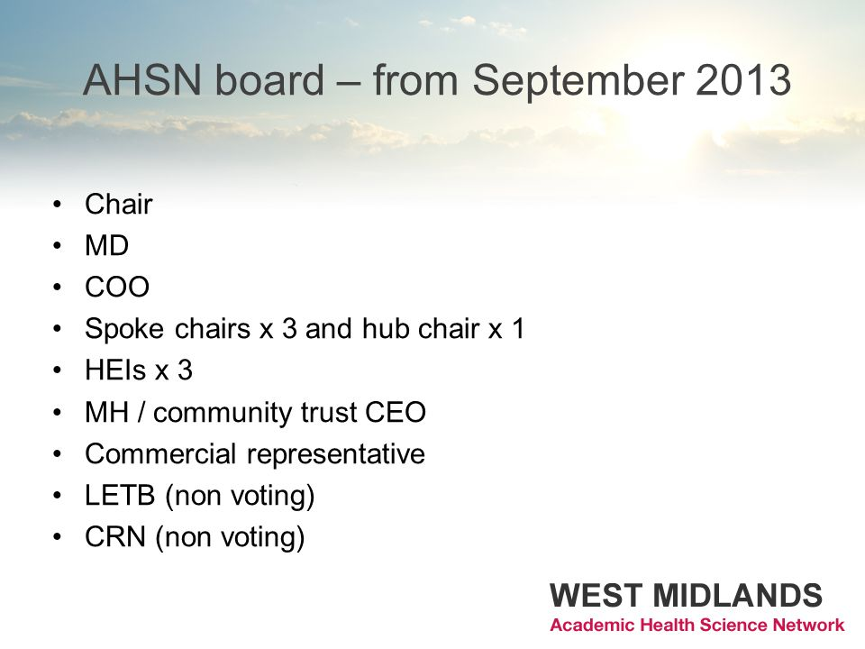 AHSN board – from September 2013