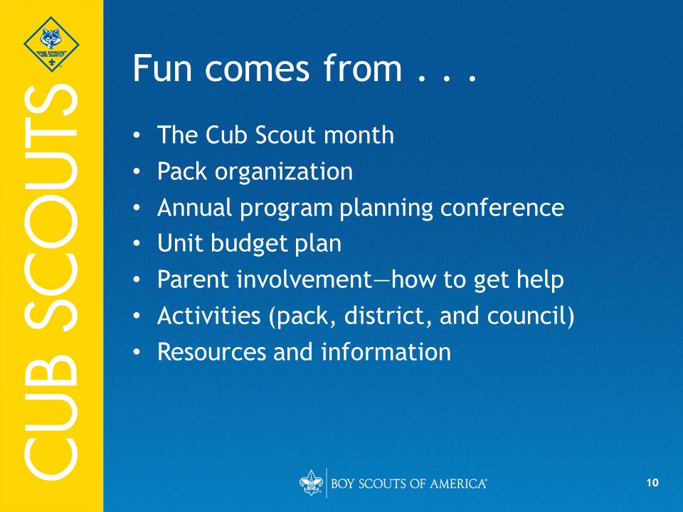 Fun comes from . . . The Cub Scout month Pack organization