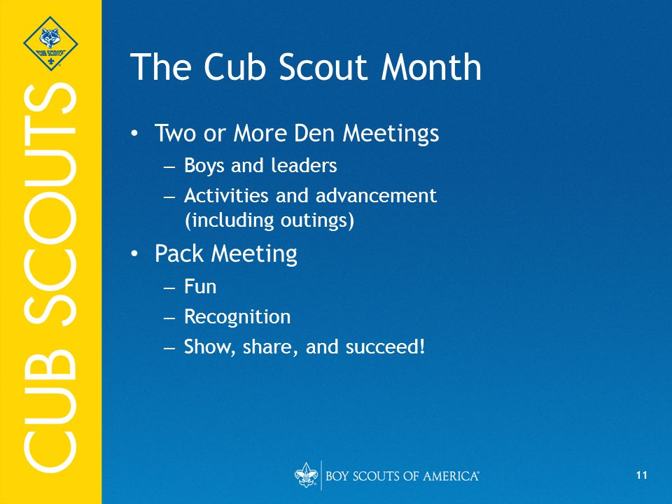 The Cub Scout Month Two or More Den Meetings Pack Meeting
