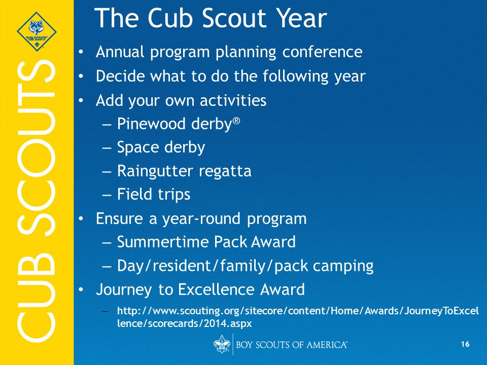 The Cub Scout Year Annual program planning conference