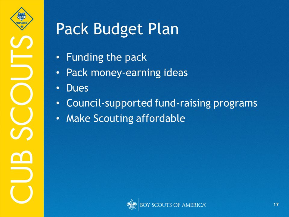 Pack Budget Plan Funding the pack Pack money-earning ideas Dues