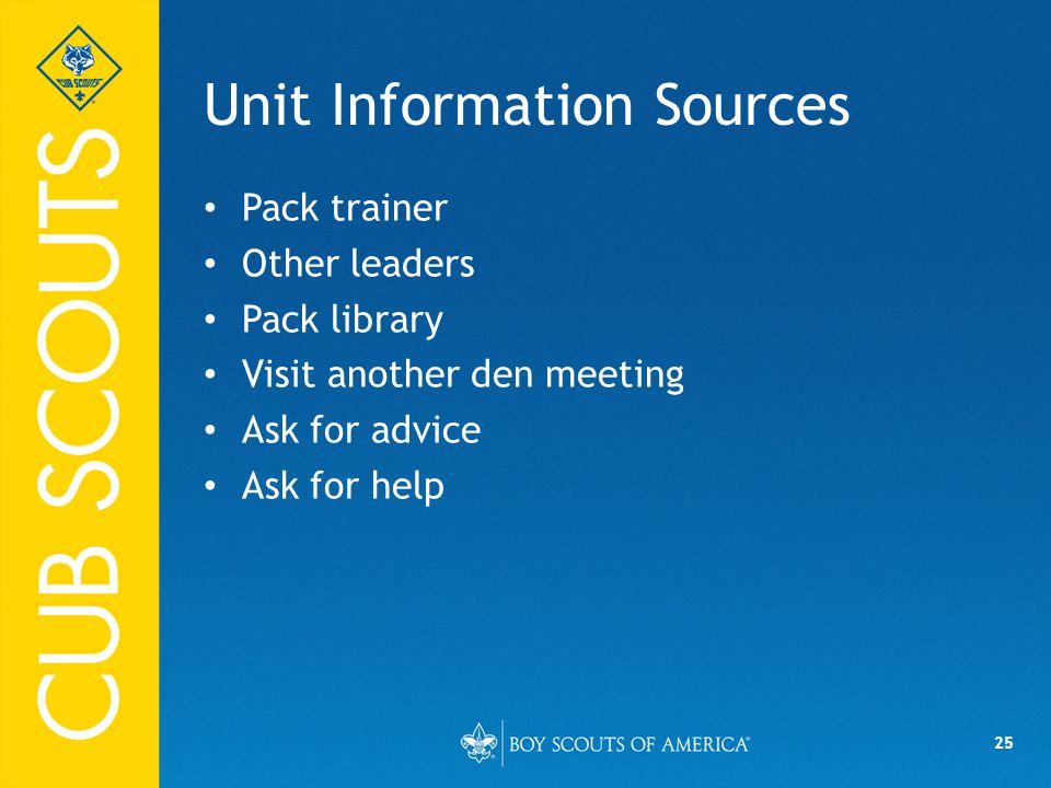 Unit Information Sources