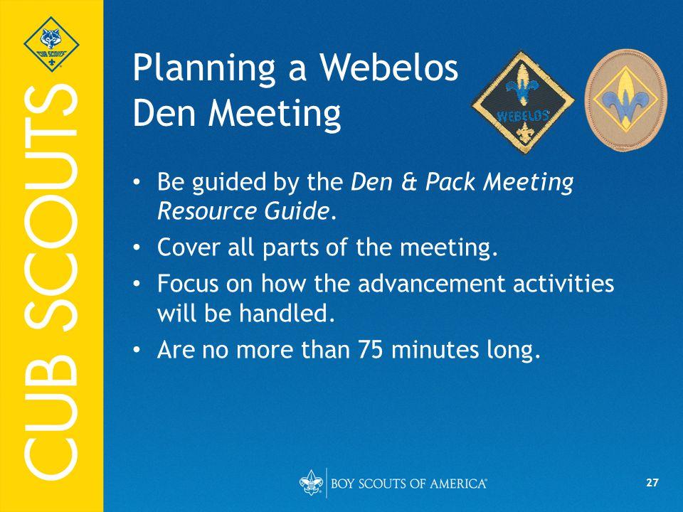 Planning a Webelos Den Meeting