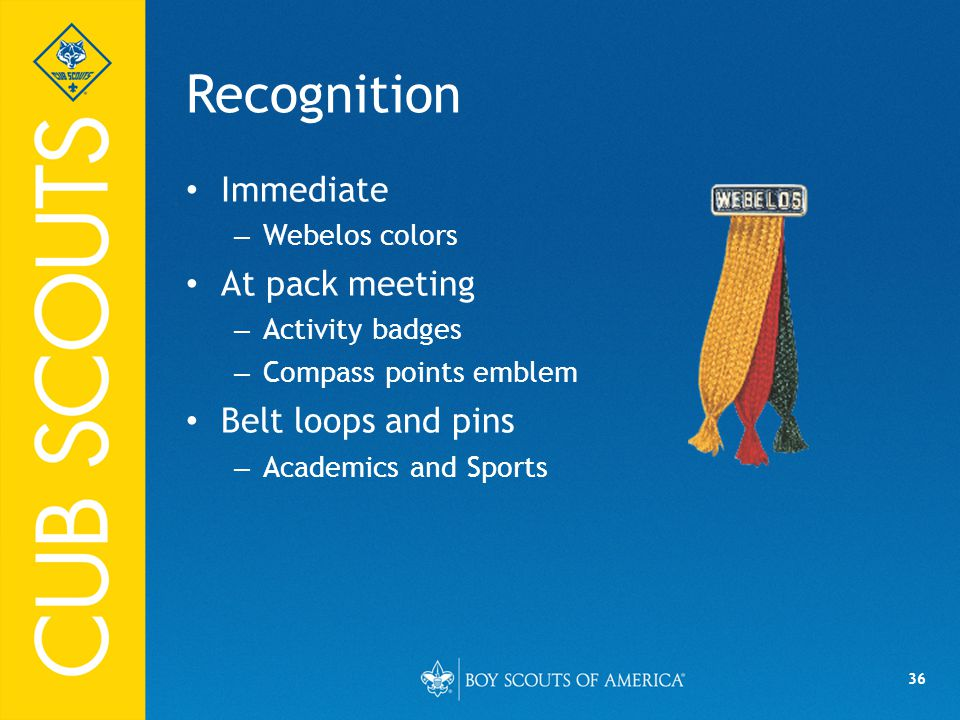 Recognition Immediate At pack meeting Belt loops and pins