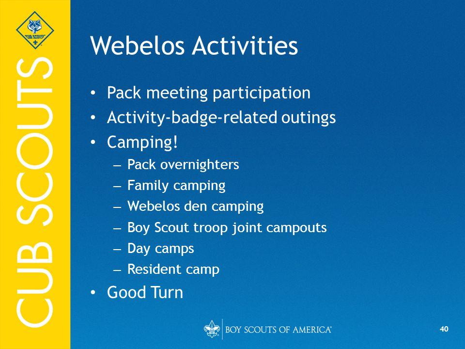 Webelos Activities Pack meeting participation