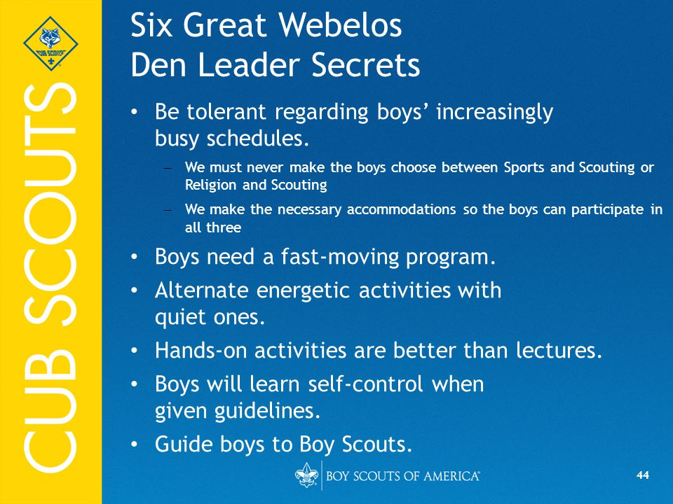 Six Great Webelos Den Leader Secrets