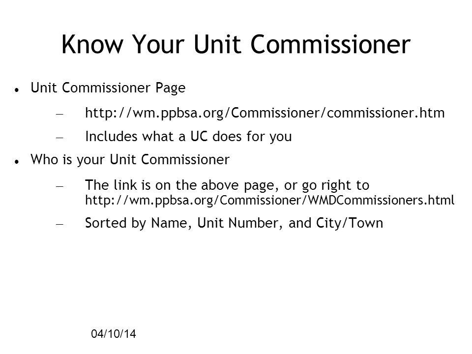 Know Your Unit Commissioner