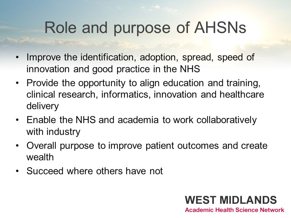 Role and purpose of AHSNs