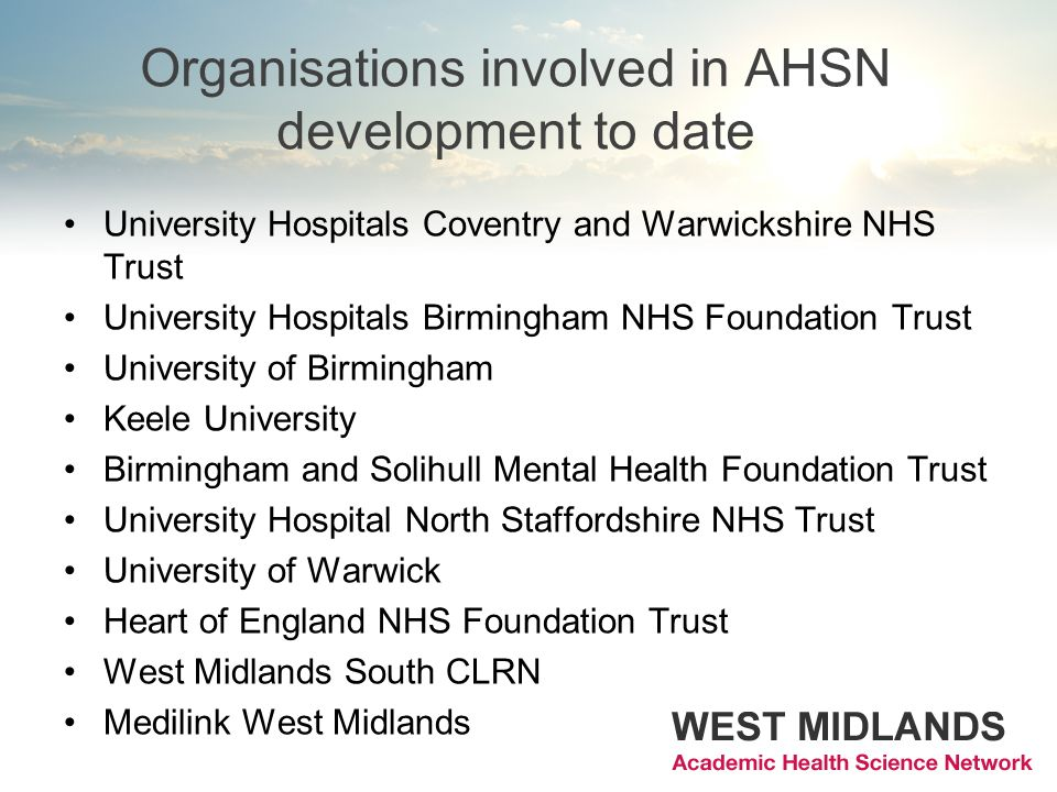 Organisations involved in AHSN development to date