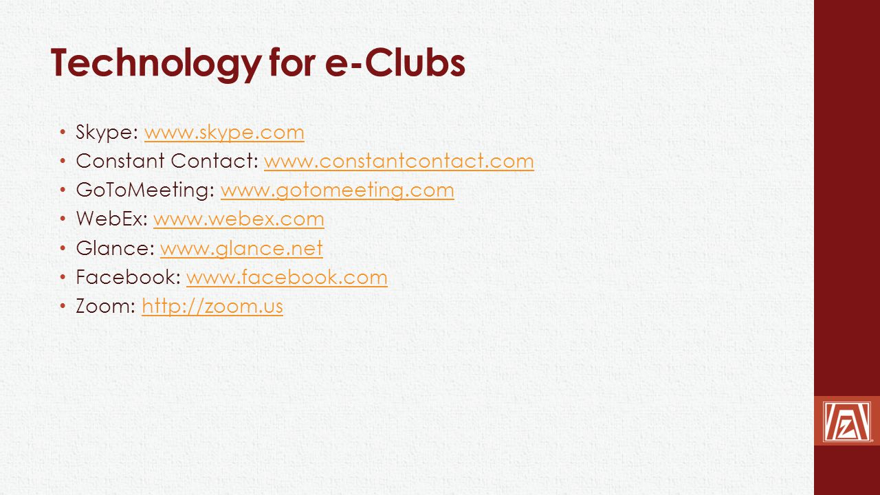 Technology for e-Clubs