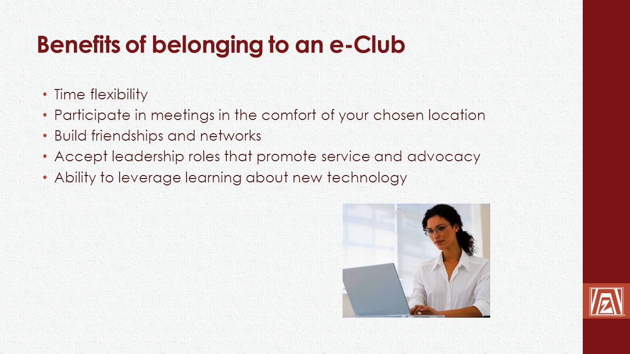 Benefits of belonging to an e-Club