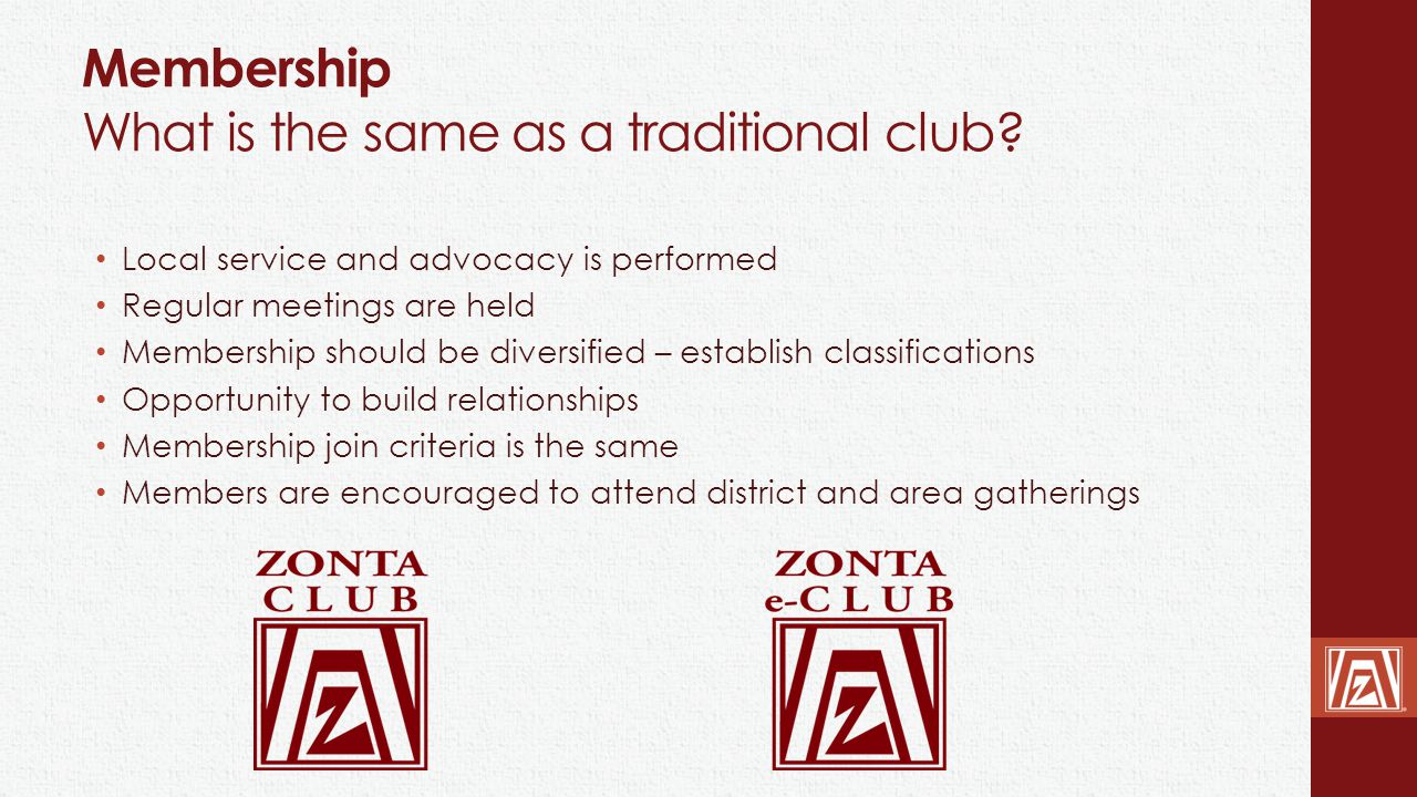Membership What is the same as a traditional club