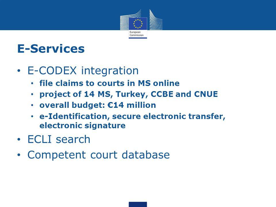 E-Services E-CODEX integration ECLI search Competent court database