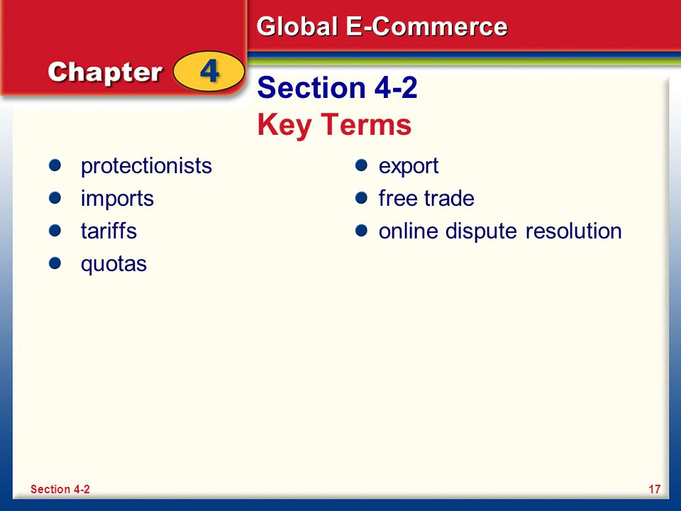 Section 4-2 Key Terms protectionists imports tariffs quotas export