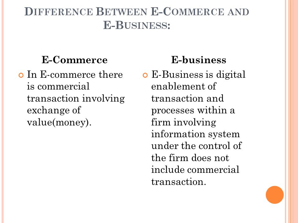 Difference Between E-Commerce and E-Business: