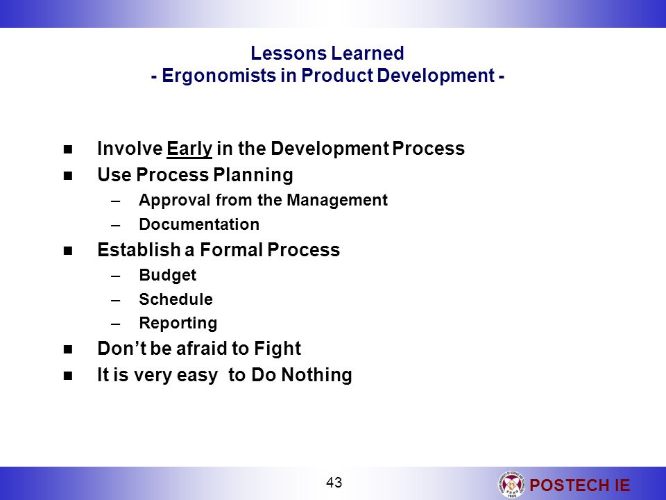 Lessons Learned - Ergonomists in Product Development -