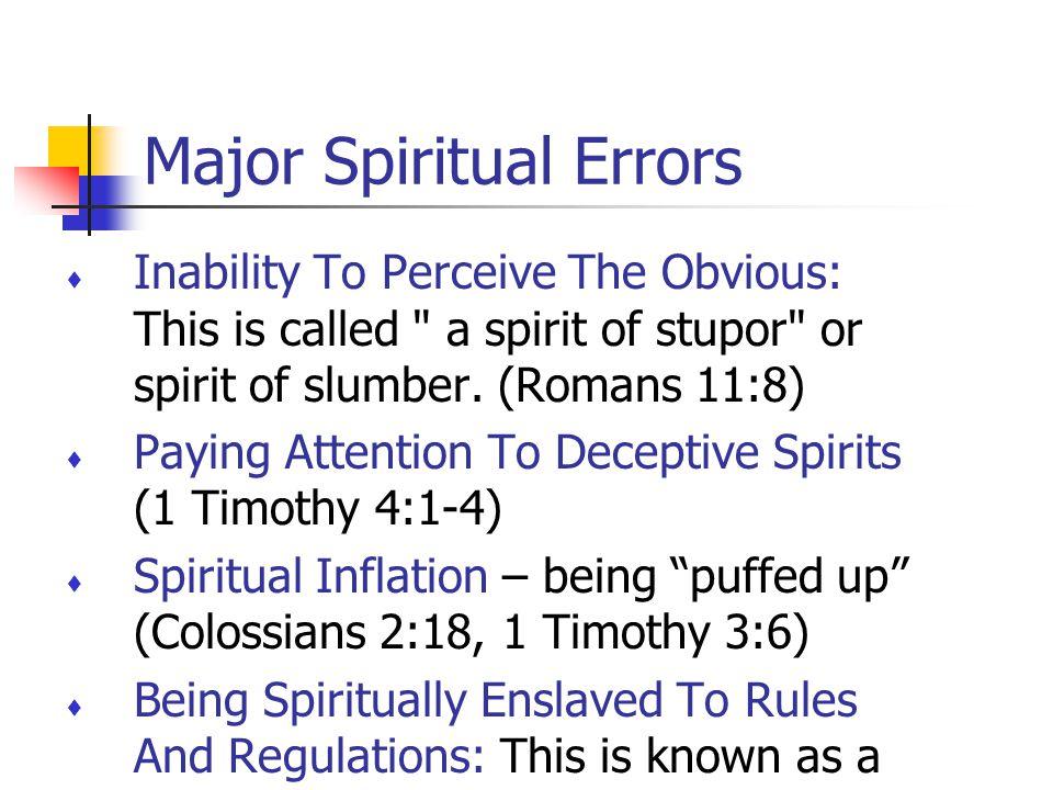 Major Spiritual Errors