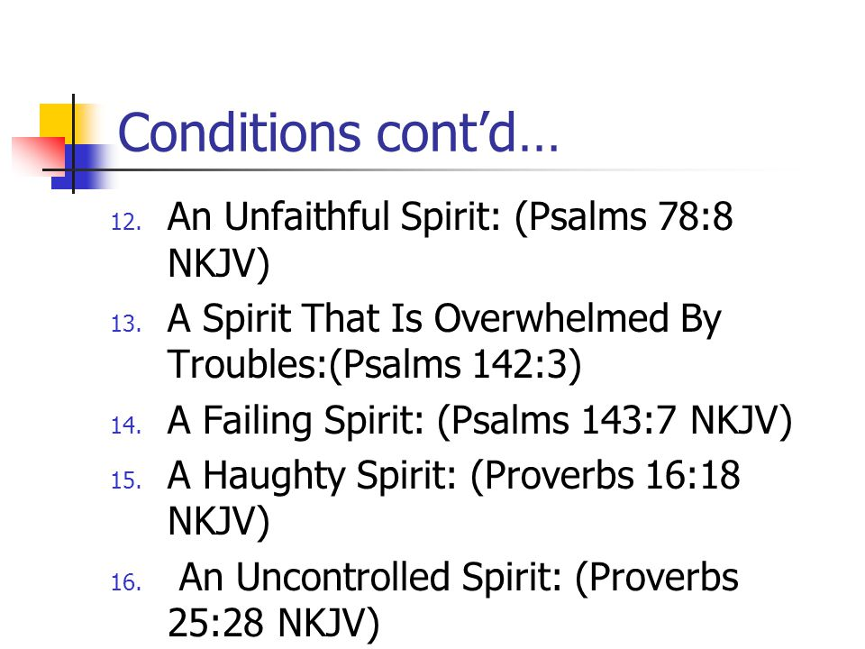 Conditions cont'd… An Unfaithful Spirit: (Psalms 78:8 NKJV)