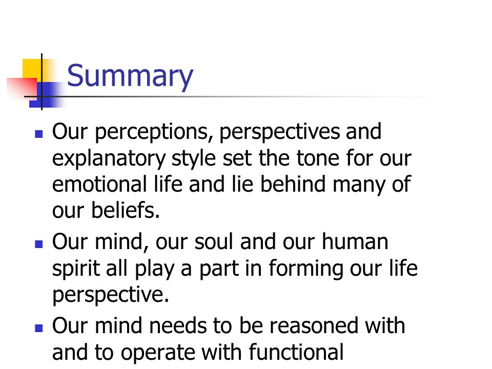 Summary Our perceptions, perspectives and explanatory style set the tone for our emotional life and lie behind many of our beliefs.