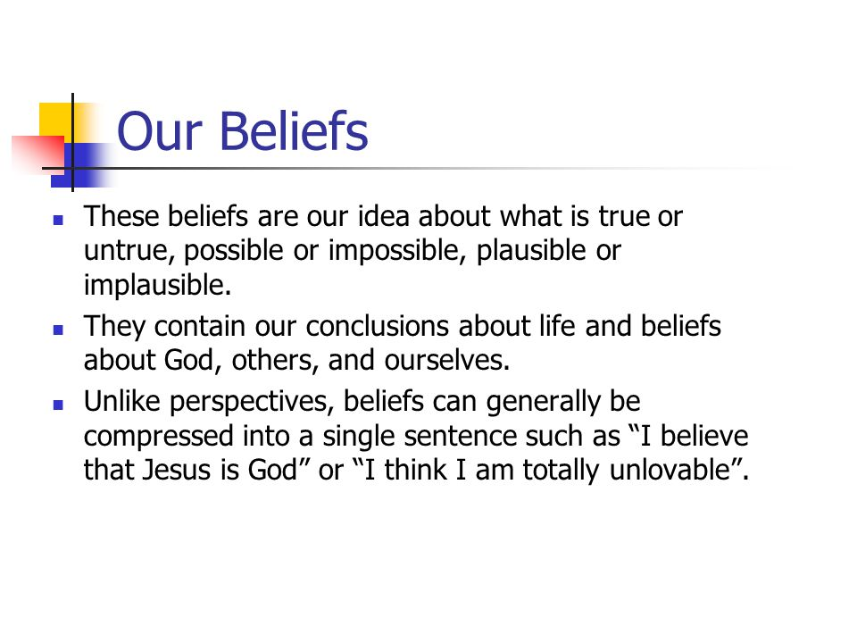 Our Beliefs These beliefs are our idea about what is true or untrue, possible or impossible, plausible or implausible.
