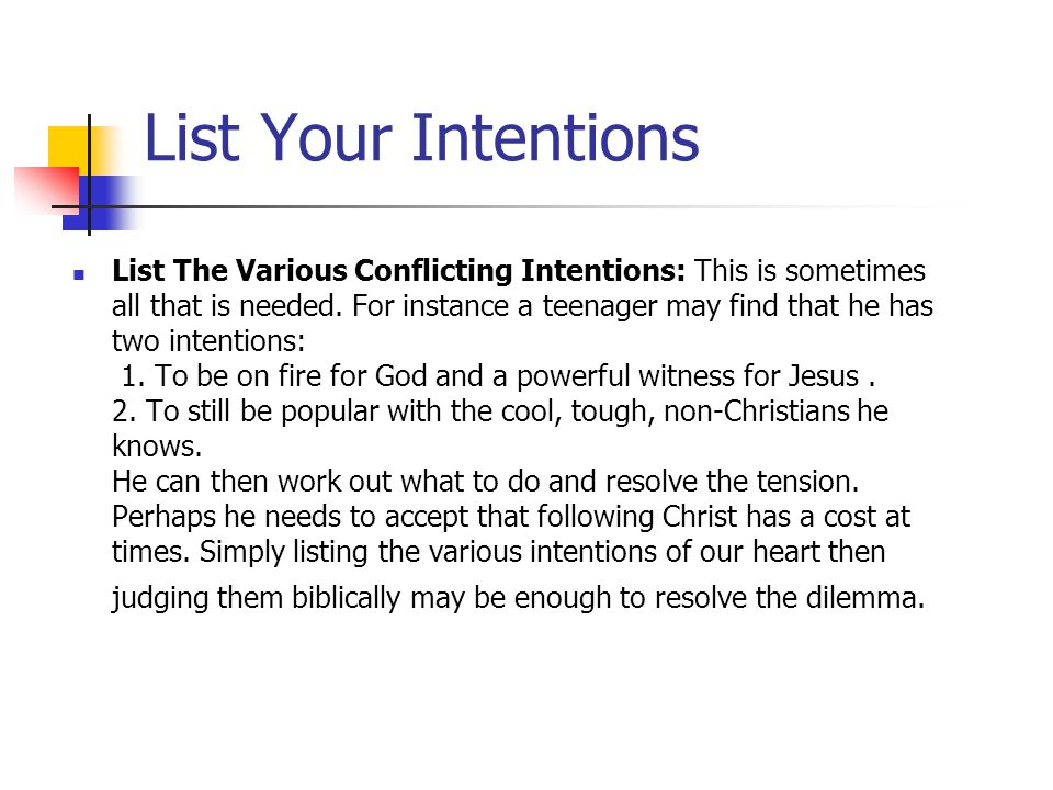 List Your Intentions