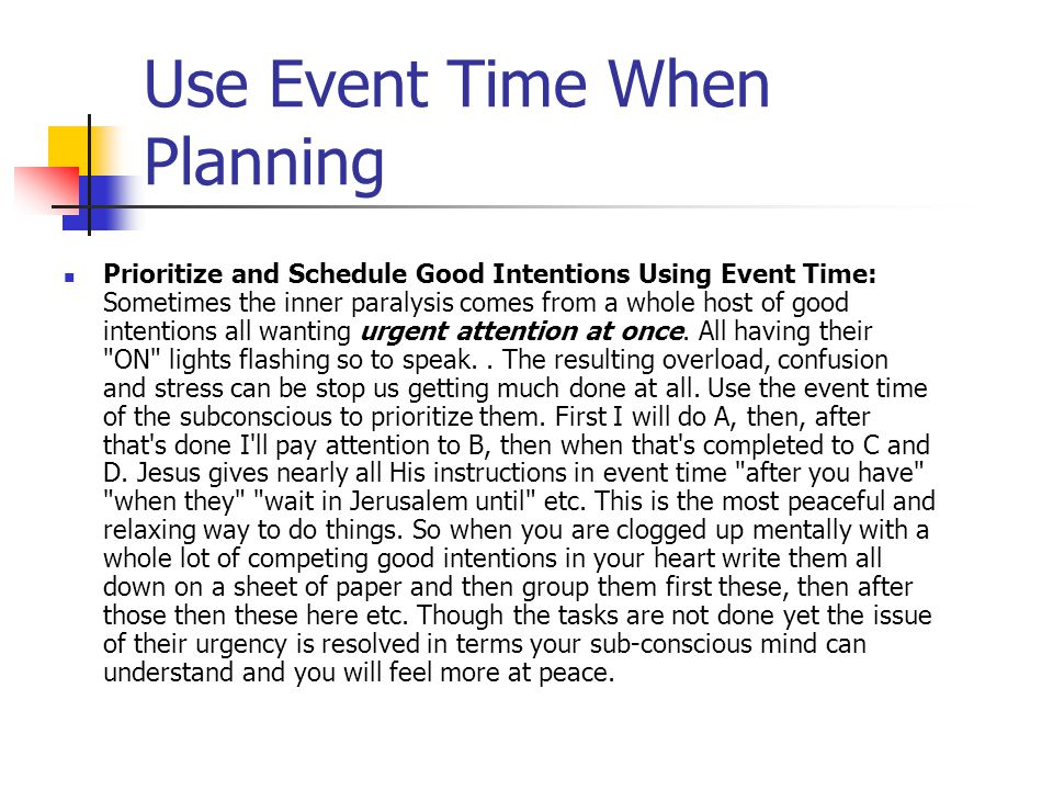 Use Event Time When Planning