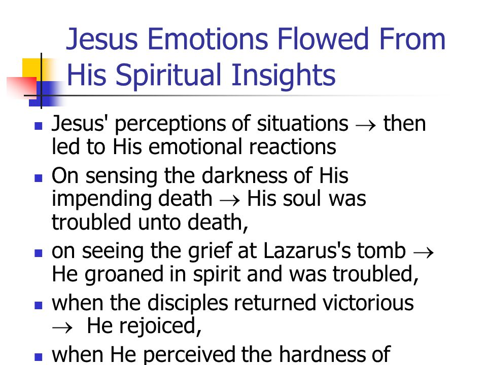 Jesus Emotions Flowed From His Spiritual Insights