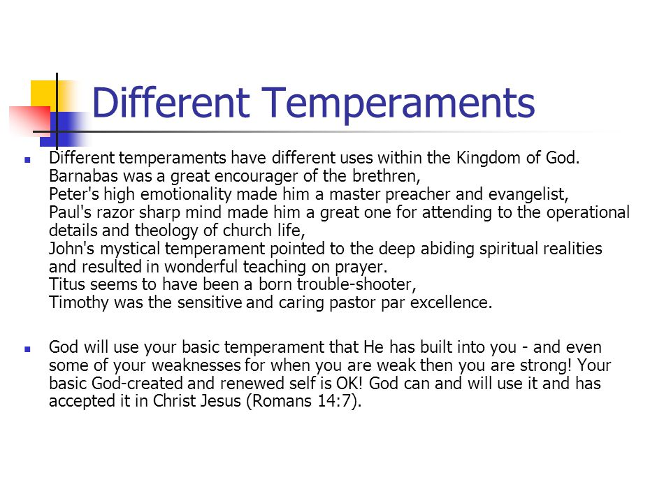 Different Temperaments