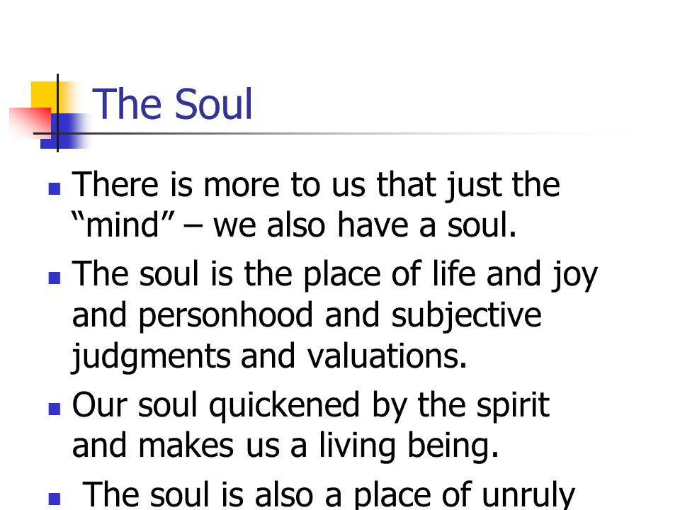 The Soul There is more to us that just the mind – we also have a soul.
