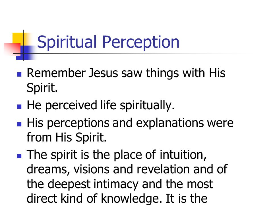 Spiritual Perception Remember Jesus saw things with His Spirit.