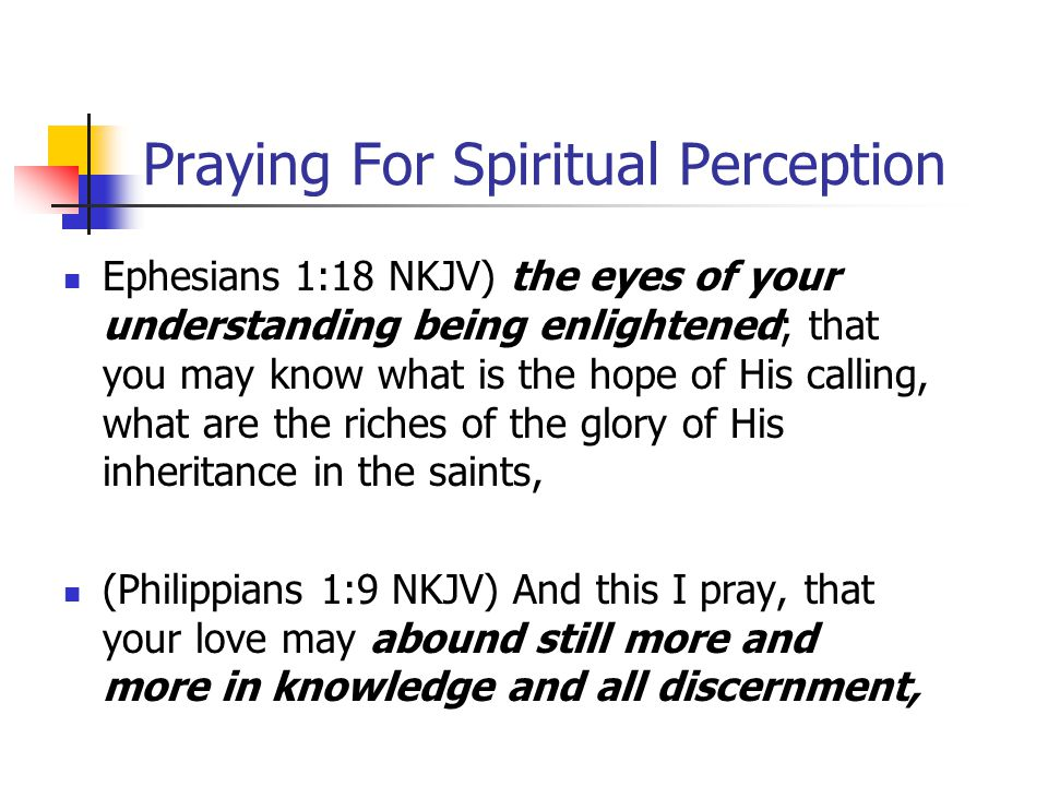Praying For Spiritual Perception