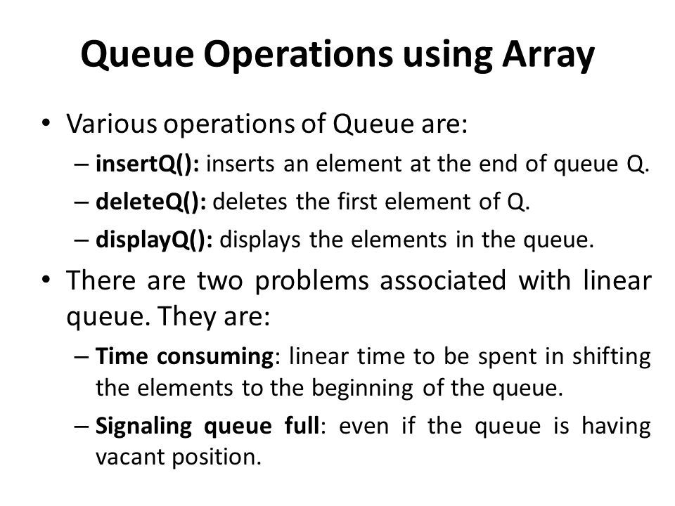 Queue Operations using Array