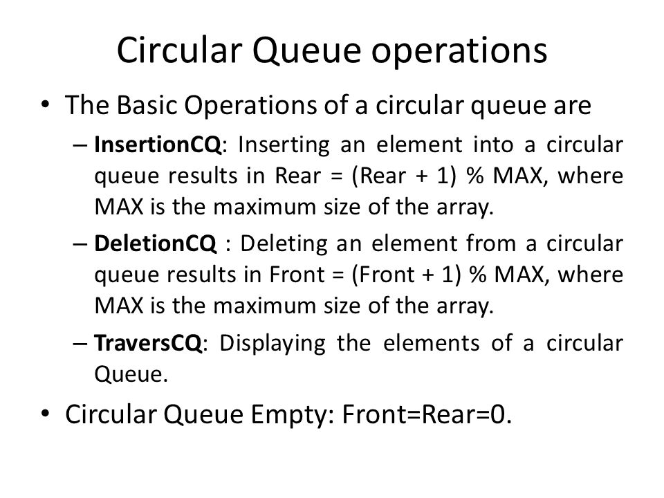 Circular Queue operations