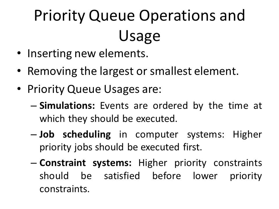 Priority Queue Operations and Usage