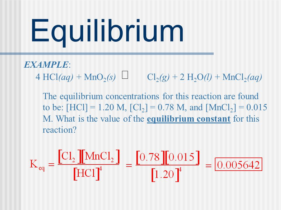 4 HCl(aq) + MnO2(s) Cl2(g) + 2 H2O(l) + MnCl2(aq)