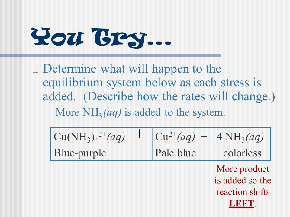 You Try… Determine what will happen to the equilibrium system below as each stress is added. (Describe how the rates will change.)