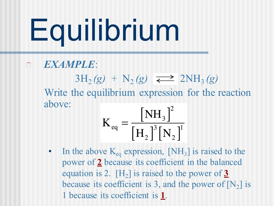 Equilibrium EXAMPLE: 3H2 (g) + N2 (g) 2NH3 (g)
