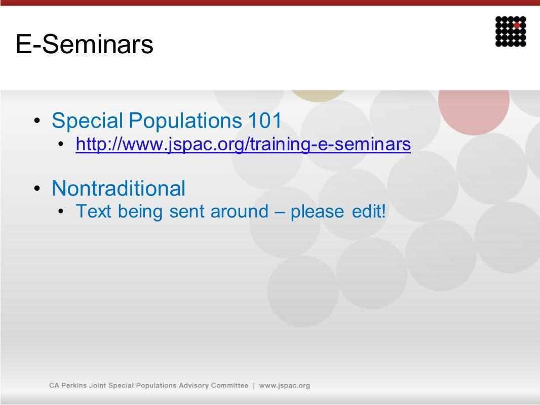 E-Seminars Special Populations 101 Nontraditional