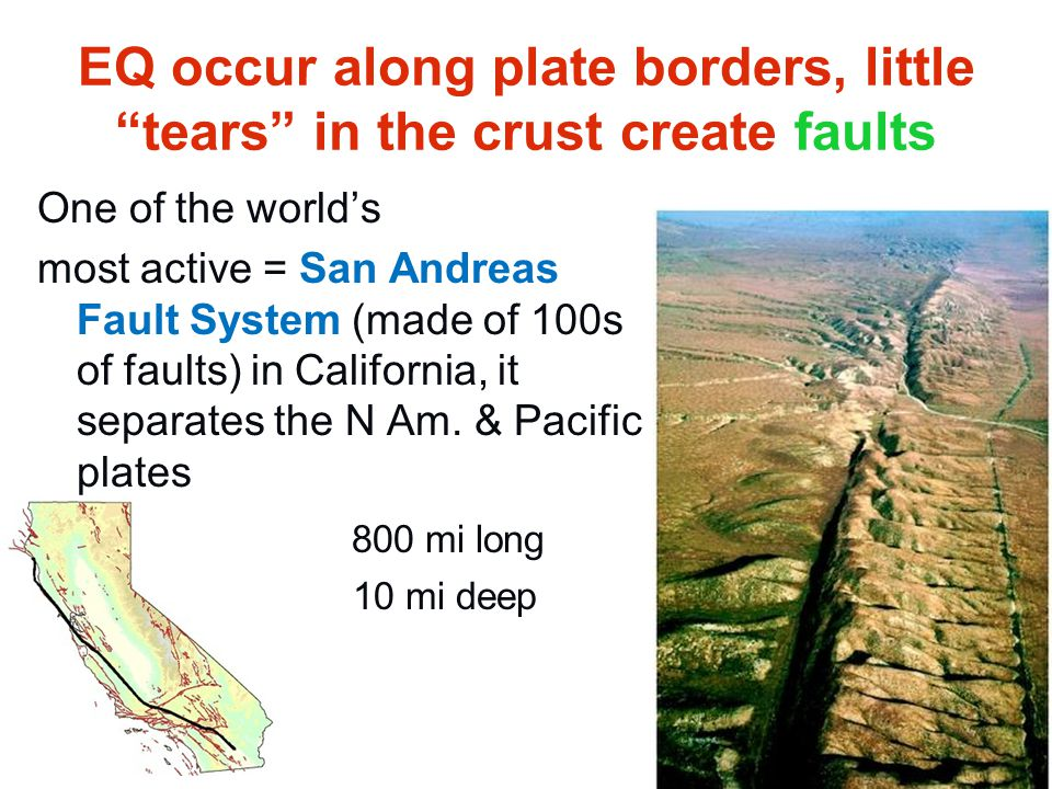 EQ occur along plate borders, little tears in the crust create faults