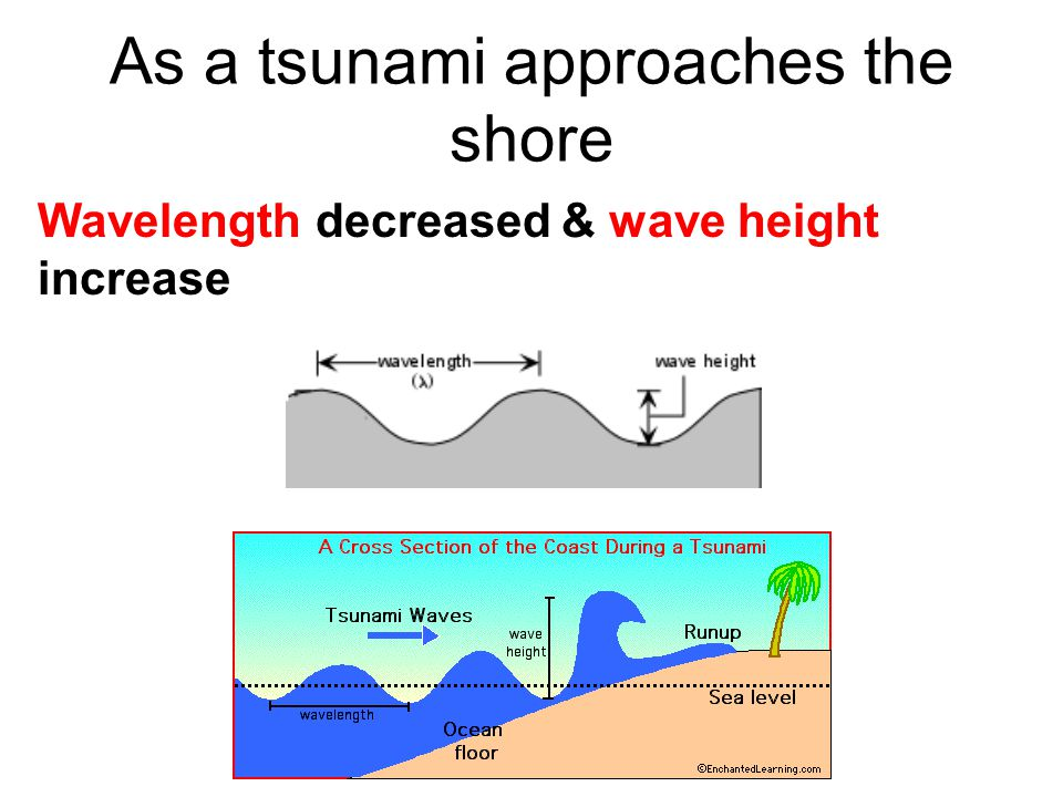 As a tsunami approaches the shore