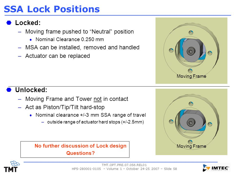 No further discussion of Lock design