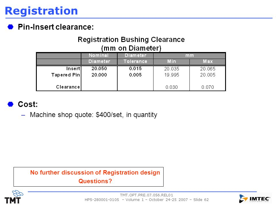 No further discussion of Registration design