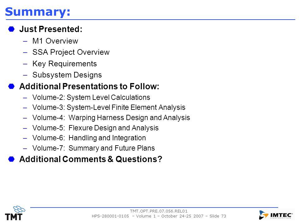 HPS-280001-0105 – Volume 1 – October 24-25 2007 – Slide 73